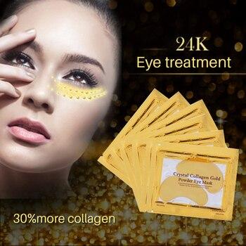 10 pcs = 5 pacotes de ouro colágeno de cristal máscara de olho tapa-olhos máscara de olho para o cuidado do rosto olheiras remover máscara de gel para os olhos 1