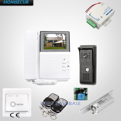 HOMSECUR 4.3inch Video Door Intercom System With Quality Night-Vision with Color Images + Strike Lock