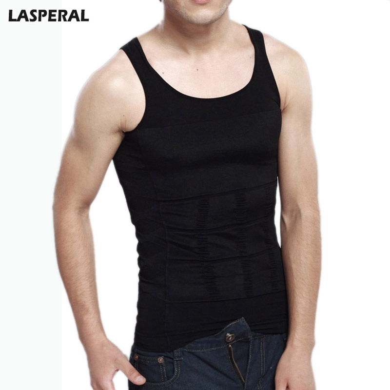LASPERAL Brand Fashion Solid Slimming Tummy Waist Shirt Vests Men Black White Body Shaper Corset Vest Tops Plus Size 2018