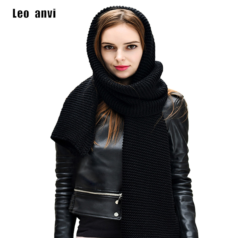 Leo Anvi Knit Long Scarf Women Winter Crochet Bandana More Color Solid Wrap Neckerchief Fashion Men