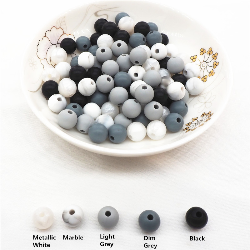 Купить с кэшбэком Chenkai 100pcs 9mm 12mm 15mm Silicone Teether Beads DIY Baby Pacifier Dummy Pendant Jewelry Sensory Teething Toy Bead BPA Free
