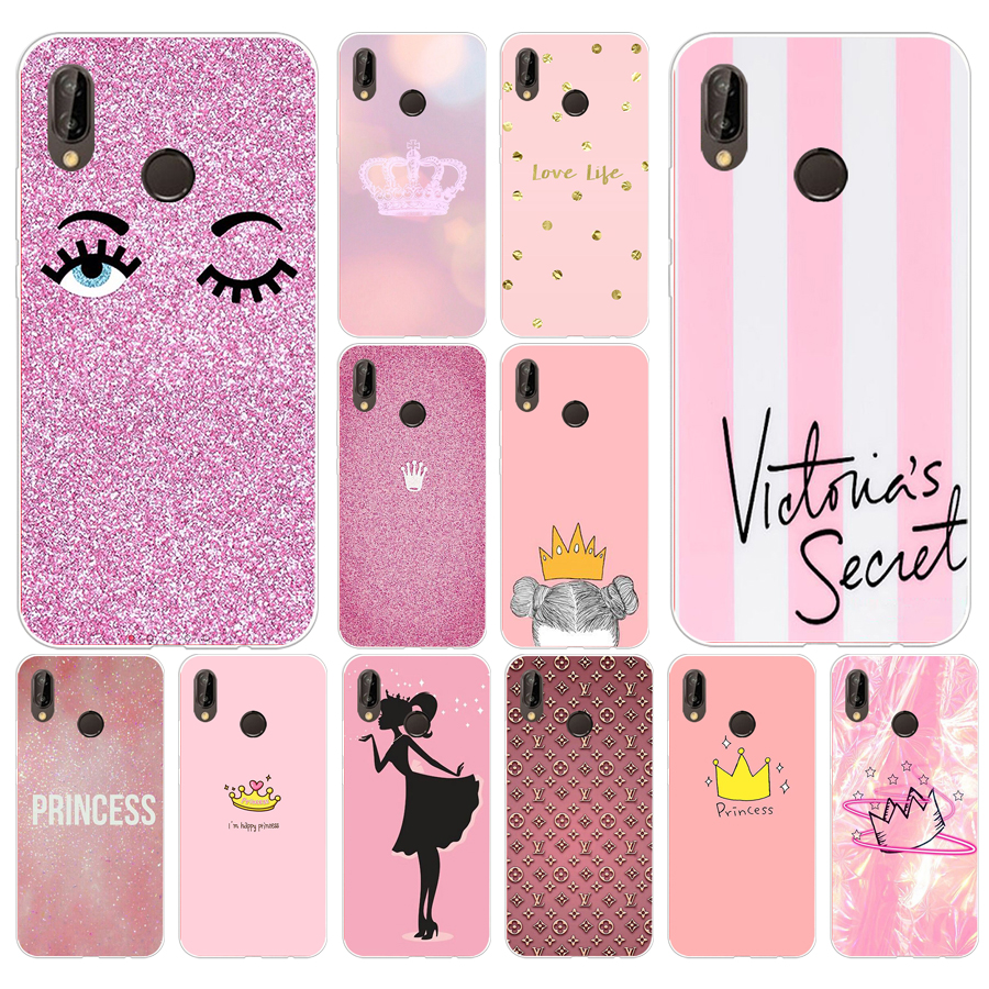 262FG Pink Crown Princess Luxury Design Soft Silicone Tpu Cover Case For Huawei P20 Lite Mate 20 Lite