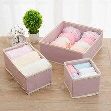 6-Piece Set Underwear Plaid Laundry Organizer Socks Bra for Storage of Linen Box Drawer Divider Closet