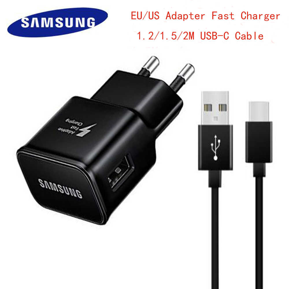 Asli Samsung Adaptive Fast Charger Usb Cepat Adaptor 1.2/1.5/2 M Tipe C Kabel untuk Galaxy S8 s9 Plus Note 8 9 A3 A5 A7 2017