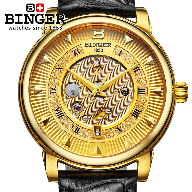 Sapphire Switzerland Automatic Mechanical Watch Men Stainless Steel Reloj Hombre Wrist Watches Male Skeleton Waterproof B-1160-1 switzerland men watch automatic mechanical binger luxury brand wrist reloj hombre men watches stainless steel sapphire b 5067m