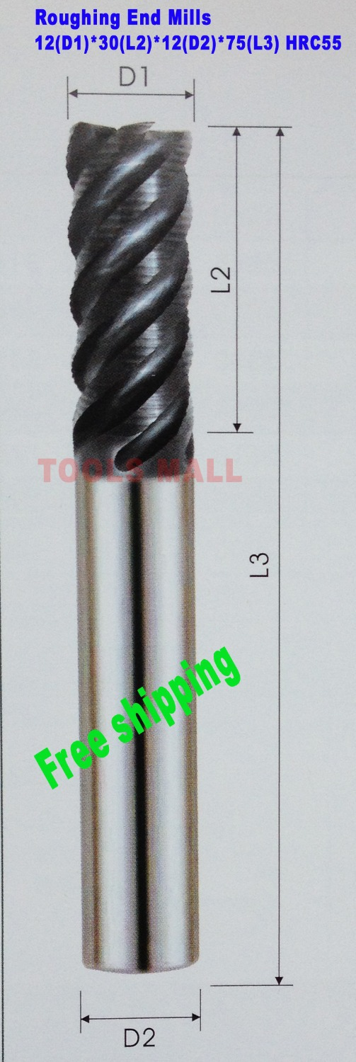 Free Shipping-1pc of 12mm 4 flutes Roughing End Mills HRC55 Tungsten Milling cutters CNC EndMill Tools Carbide router bits cnc tools carbide square roughing end mill 4 flutes d8mm 60mm length hrc55 with coating shipping free