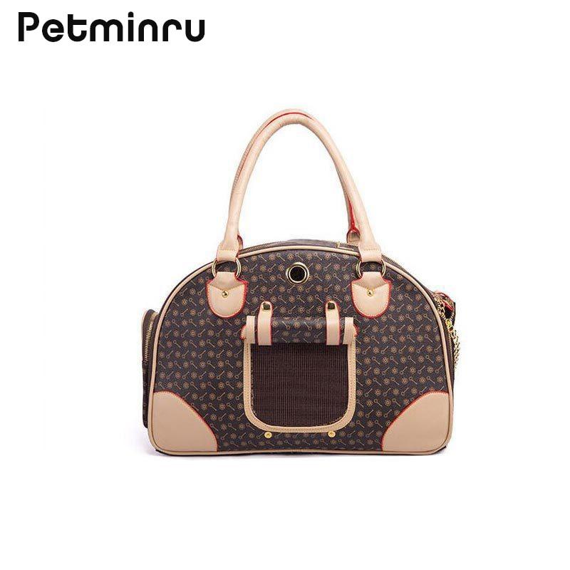 Petminru Pu Leather Small Cat Dog Carrier Bag Outdoor Travel Carry Tote Foldable Shopping Bag Portable Pet Dog Handbag