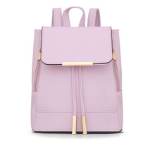 Hot Sale Women Backpack Fashion Korean String Bagpack High Quality Pu Leather Hasp Shoulder Bag Luxury Pink Black Bags m731