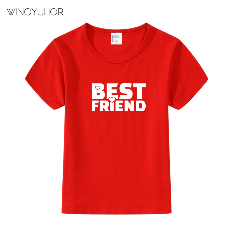 Summer New Tops Children Funny T-<font><b>Shirts</b></font> <font><b>Best</b></font> <font><b>Friend</b></font> Print Short Sleeve Tees Girls/Boys T <font><b>Shirt</b></font> Baby Casual <font><b>Kids</b></font> O-neck Clothes image