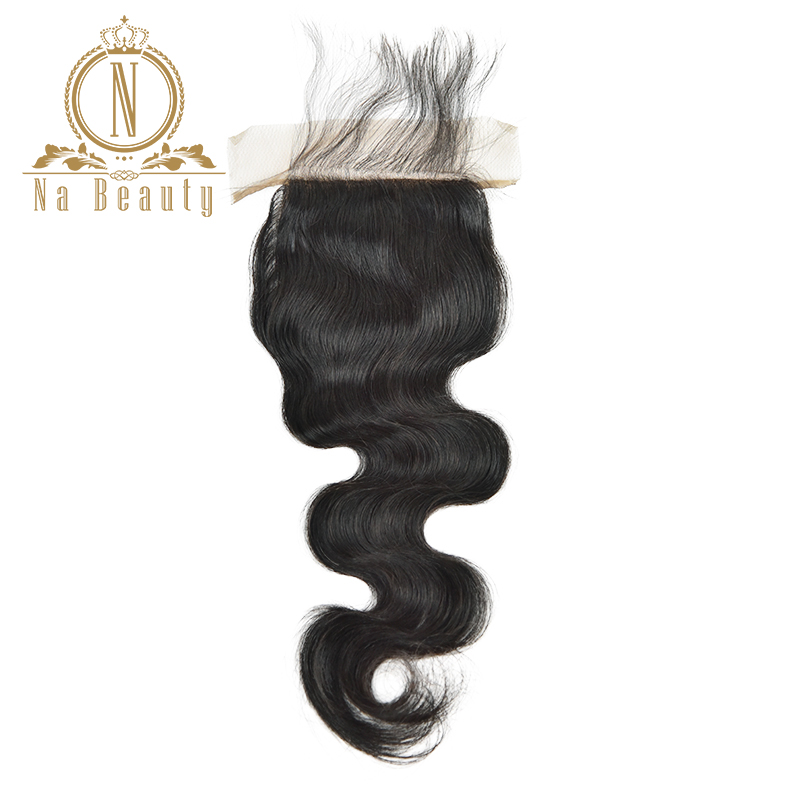 Silk Base Closure Body Wave 4*4 Brazilian Human Hair Extensions Lace Closure Remy Hair Pre Plucked Natural Black Color Baby Hair