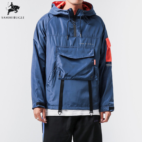 High Quality Japanese Streetwear Plus Size Casual Hooded Jackets Men Loose Front Pocket Outwear Wind Breakers Coats For Men Pakistan