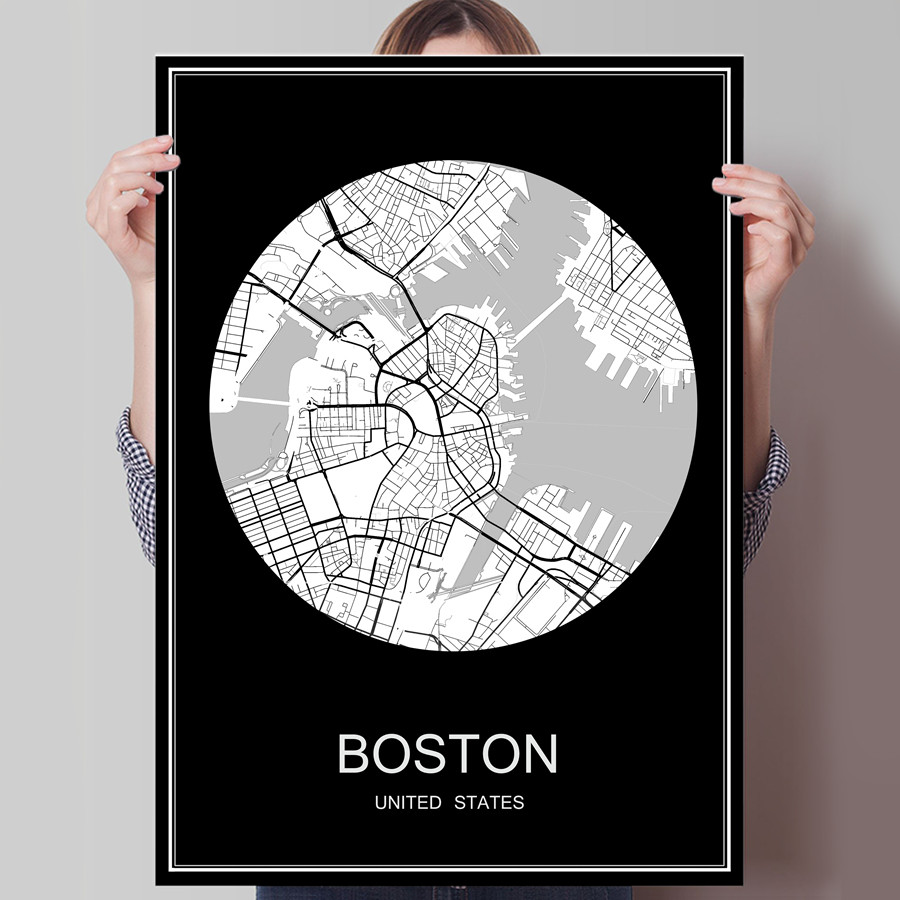 Famous City Map BOSTON USA Print Poster Print on Paper or Canvas Wall Sticker for Bar Pu ...