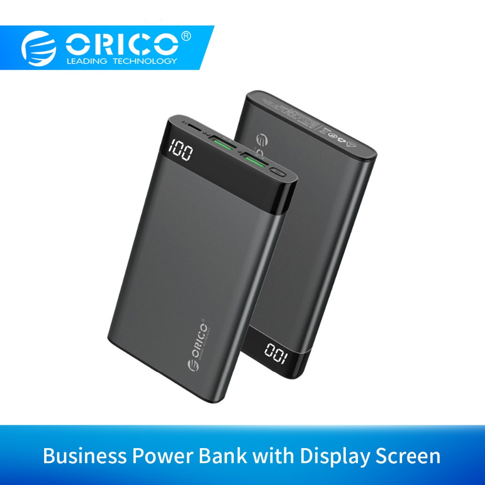 ORICO 10000mah Power Bank With LCD Display Screen Dual Output Portable External Battery Charge For Xiaomi Mobile Phone Tablet