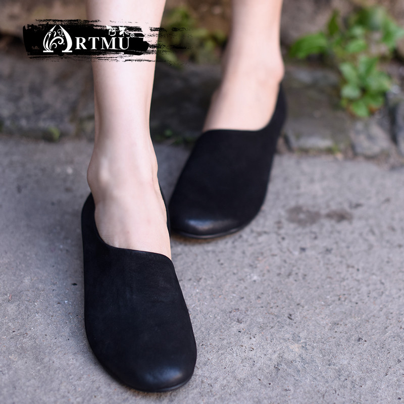 Artmu 2018 New Style Simple Flat Women Shoes Comfortable Individual Cowhide Soft Soles Handmade Leather Shoes 7313 цена