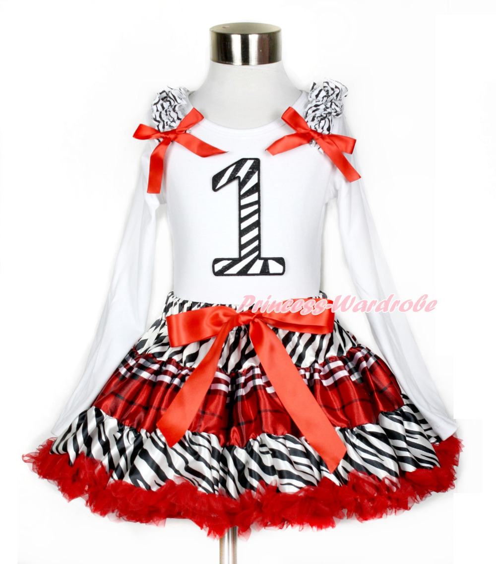 ФОТО Red Black Check Pettiskirt with 1st Zebra Birthday Number Print White Long Sleeve Top with Zebra Ruffles and Red Bow MAMW390