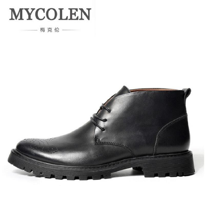 MYCOLEN Men Boots Genuine Leather Quality Brand Winter Shoes Autumn Non-Slip Ankle Men Boots Retro Martin Boots tenis masculino mycolen luxury famous men winter boots quality genuine leather boots men business slip on shoes men ankle boots tenis masculino