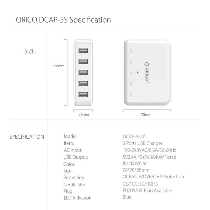 ORICO 5 ميناء شاحن يو اس بي المحمولة السفر الذكية شاحن سريع شاحن لسطح المكتب 8A40W ل فون 7 سامسونج غالاكسي S6 Xiaomi اللوحي