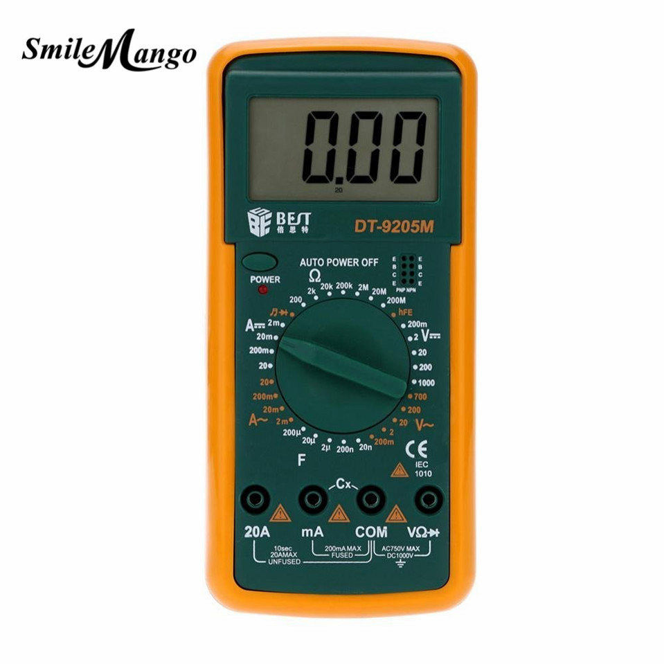 (Best -9205M) Upgraded version Wholesale BEST 9205M Handheld LCD Screen Digital Multimeter With buzzer Tester Meter dt830b handheld digital multimeter electrician with a to send meter pen