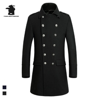 Brand New Mens Navy Wool Pea Coat Winter Fashion High Quality Plus Size Business Casual Wool