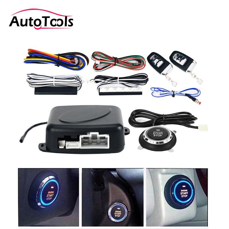 Auto voiture un démarrage arrêt moteur système avec télécommande voiture PKE système d'entrée sans clé démarrage bouton d'arrêt pour 12 V SUV RFID lock