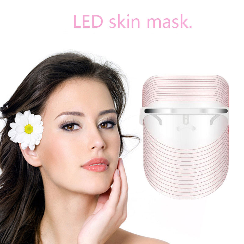 USB Beauty Instrument Phototherapy Red&Blue Light Shrink Facial Mask Rejuvenation Wrinkle Removal Electric Anti-Aging LED Mask 3