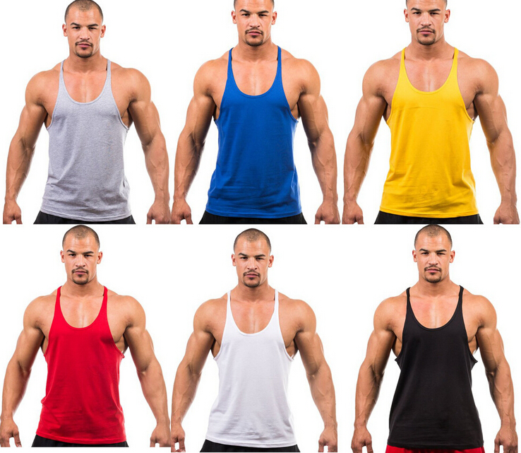 3e034625b4b23 Men s Cotton Workout Tank Top Mens Bodybuilding Stringer Tops Undershirt  Fitness Vest Muscle Sleeveless Singlet Racerback Top