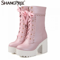 2017 Fashion Women Martin Boots Women Round Toe Square High Heels Ankle Boots Lace Up Handmade