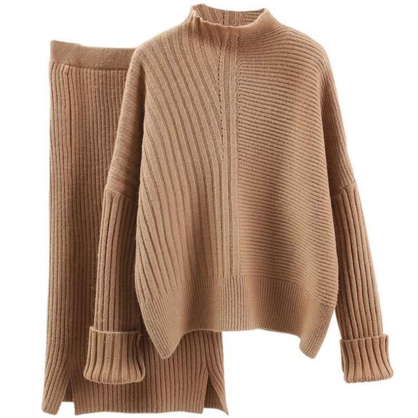 Knit Skirt Suit Set 2 Piece Women Sweater Pullover+Knee Skirt High Waist Knitted Suit Female Office Sets