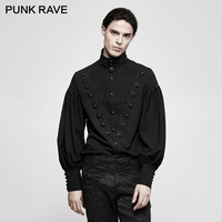 PUNK RAVE Gothic Men Gorgeous Folding Long Lantern Sleeve Blouse Men Steampunk Vintage Dress Shirt Stripes Christmas Party Shirt
