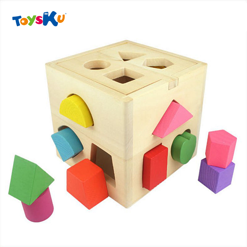 ФОТО Baby Educational Wooden Toys Shape Sorting Cube Intellectual Box Classic Toys for Childern Gifts