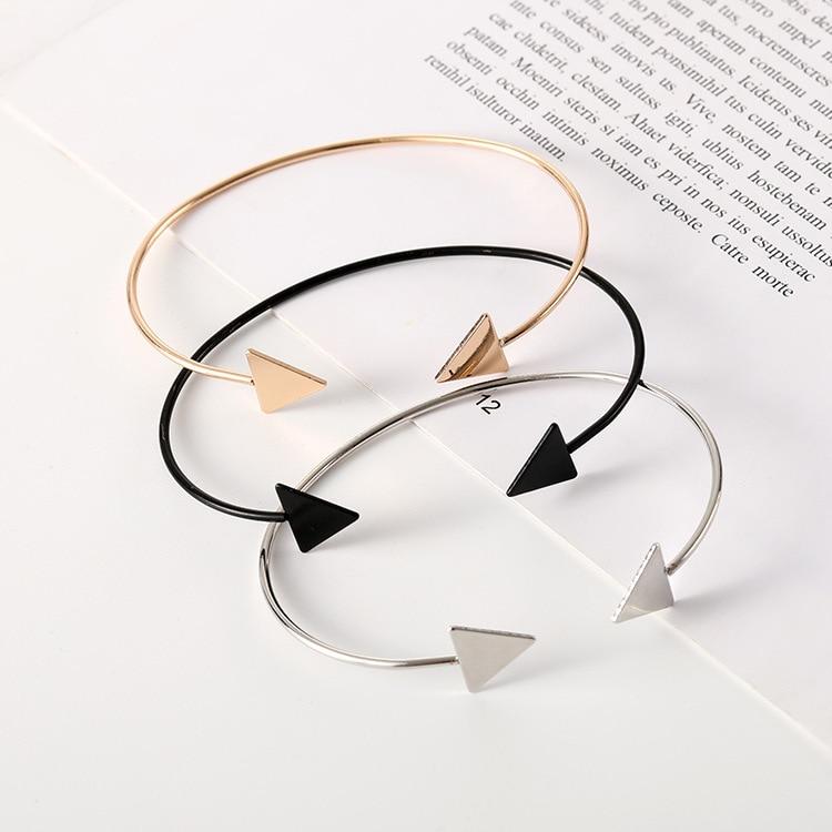 Women Vintage Gold Silver Double Triangle Alloy Punk Cuff Charm Bangle Bracelet