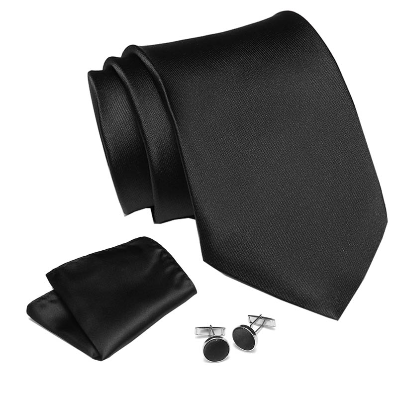 Mens Tie Dark Solid Black 100% Silk Classic Jacquard Woven New Brand Tie Hanky Cufflink Set For Men Formal Wedding Party