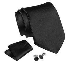 Mens Tie Dark Solid Black 100% Silk Classic Jacquard Woven new brand Hanky Cufflink Set For Men Formal Wedding Party