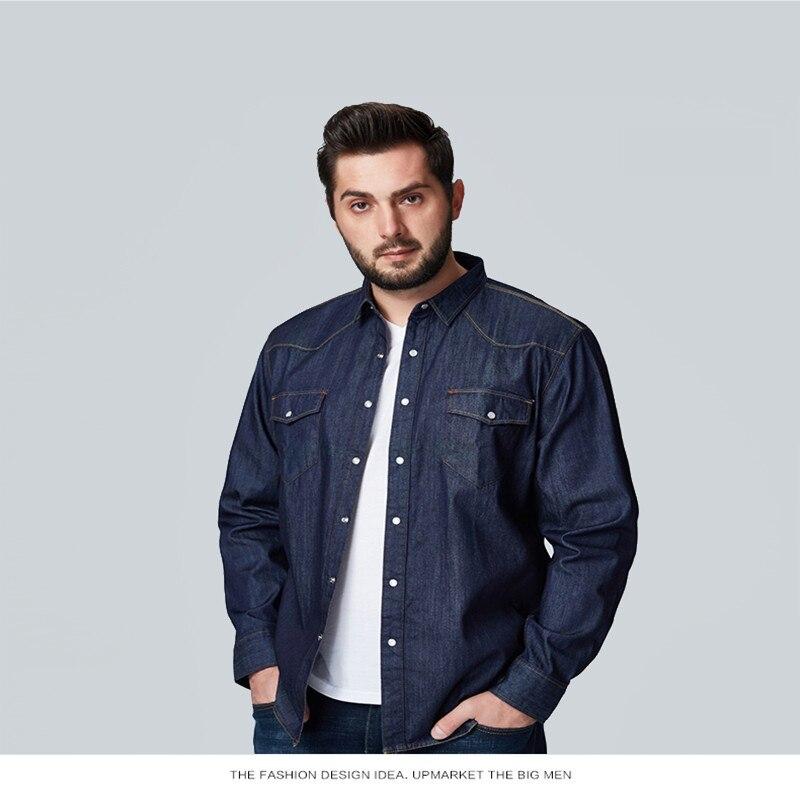 Nouveauté printemps automne vêtements pour hommes homme à manches longues extra large 100% coton denim chemise de grande taille 2XL 3XL 4XL 5XL 6XL