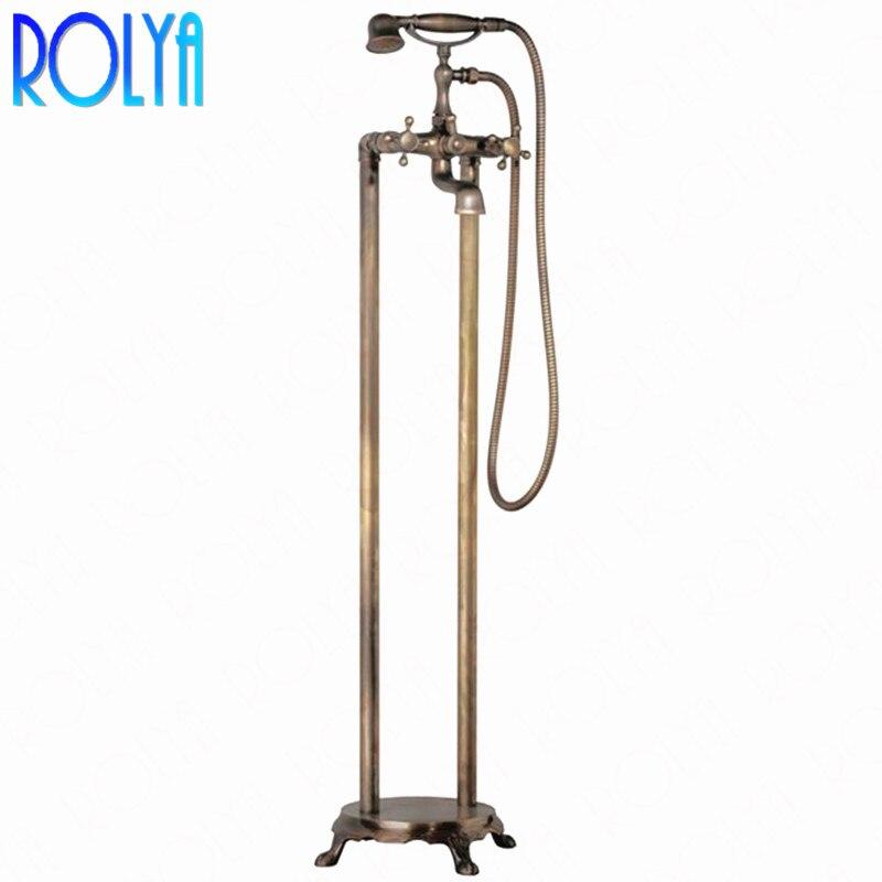 Rolya Vintag mélangeur de douche de bain monté au sol robinet robinets de remplissage de baignoire autoportante robinet de baignoire de Style ancien
