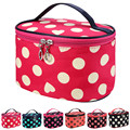 Fashion Women Dot Series Portable Cosmetic Bag Cosmetic Bag Striped Bowknot Women Makeup bag Travel Portable New Style 2016