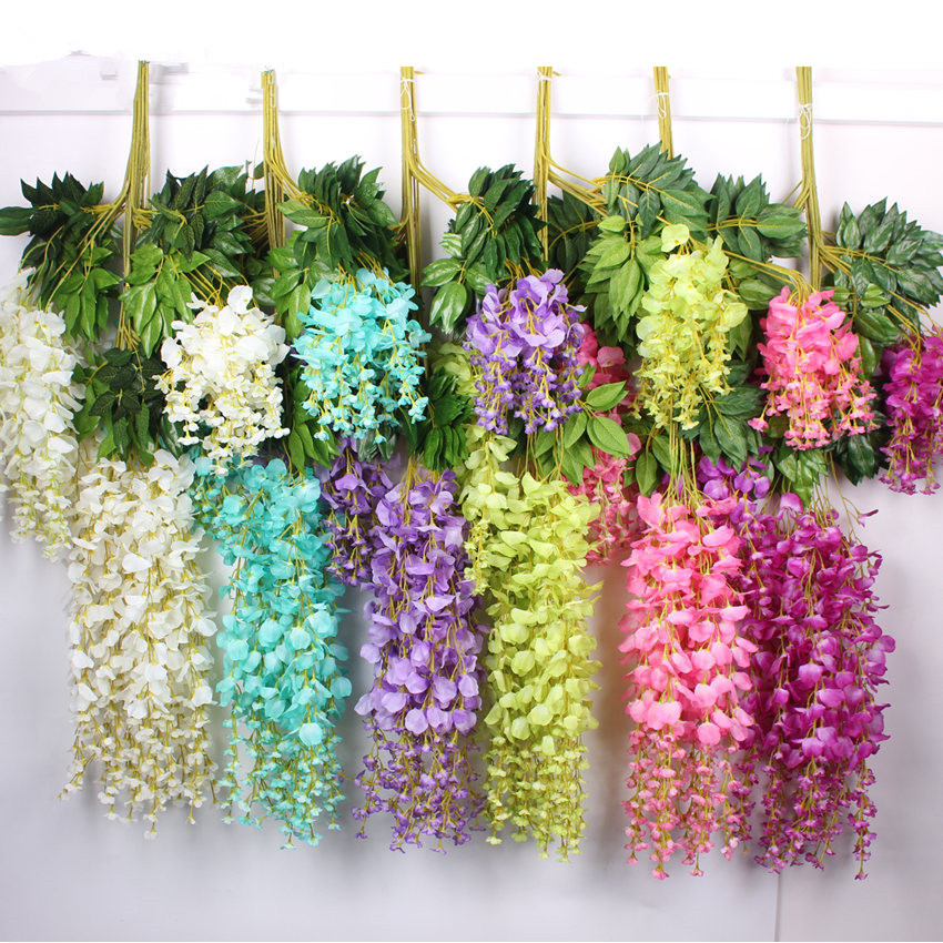 110cm Fashion Home Party Wedding Garden Floral Decoration Romantic  Artificial Wisteria Silk Flower Vine(China