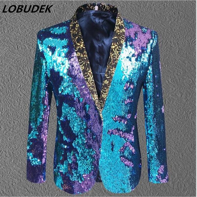 Purple Blue sequins Men's Jacket Prom Party Fashion Slim Blazers Outerwear Nightclub Bar Host singer stage performance Costumes