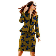 African clothing women print blazer with skirt Ankara fashion customized jacket sets female outfits dashiki suit