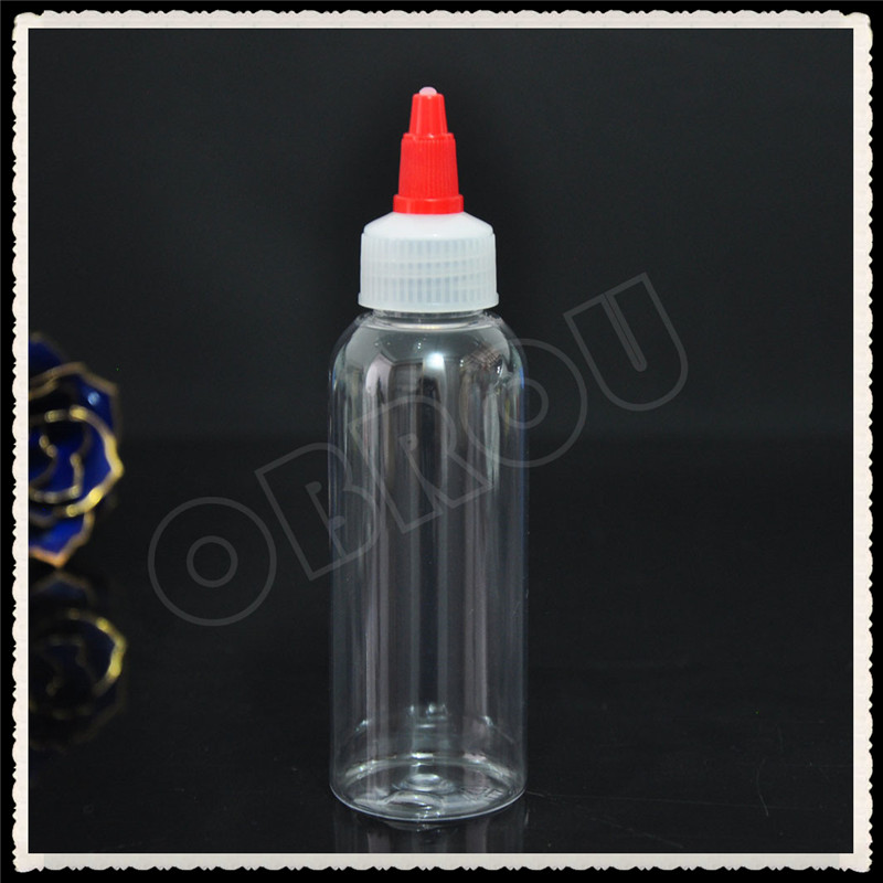 HOT SELLING 300pcs 120ml tatto ink empty bottles pet plastic bottle with red twisted off cap by free shipping