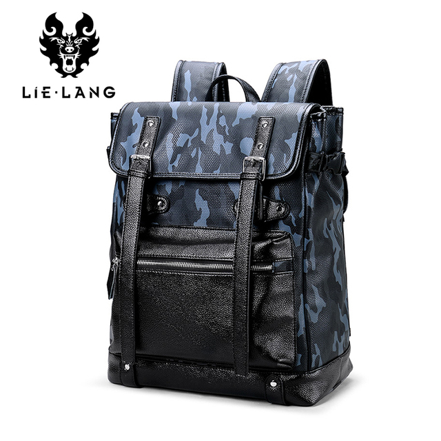 28577e7a981 LIELANG Backpack Men 14 Inch Laptop Teenager Travel Leather Backpack Anti  thief School Bag Camouflage Male Mochila Leisure -in Backpacks from Luggage    Bags ...