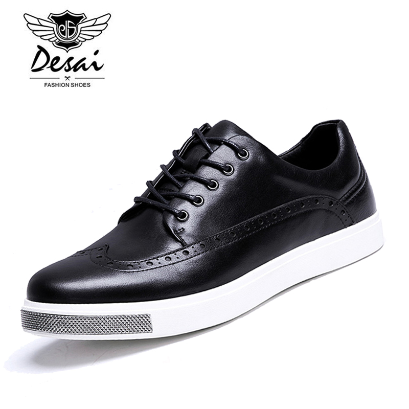 DESAI Brand 2017 High Quality Cow Leather Bullock Men Flats Lace-Up Shoes New Fashion Original Casual Shoes D365112 top brand high quality genuine leather casual men shoes cow suede comfortable loafers soft breathable shoes men flats warm