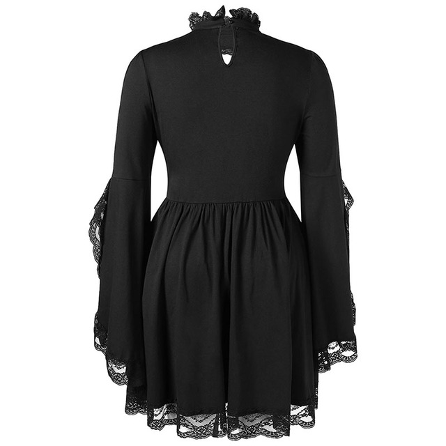 PlusMiss Plus Size Gothic Bell Flare Sleeve Black Lace Party Dresses Women Vintage Retro 50s Sexy Lace Up Dress Big Size Autumn 5
