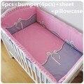 Promoción! 6 unids arco juego de cama para bebé Color con carácter juego de cama cuna ( bumpers + hojas + almohada cubre )