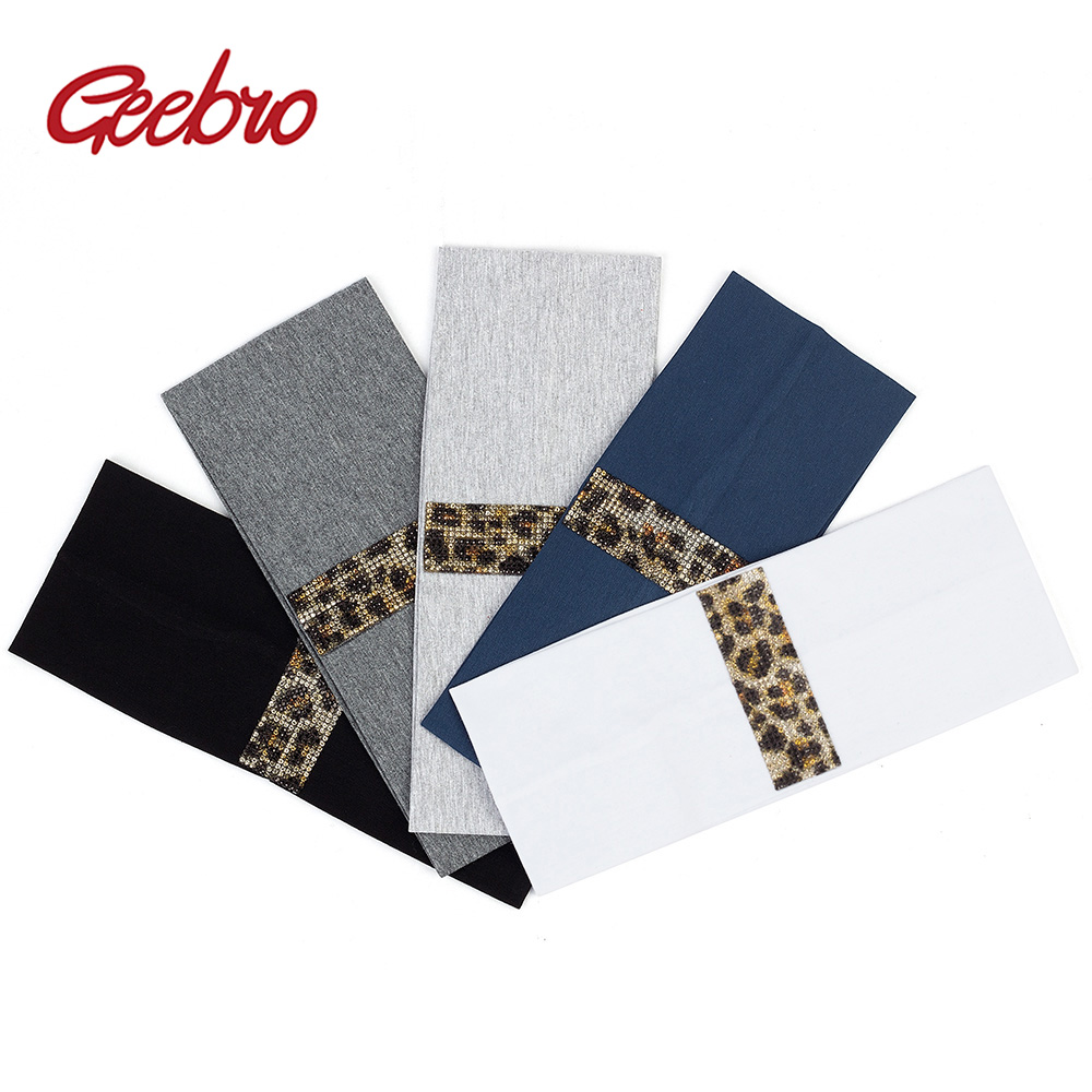 Geebro Leopard Headband For Women Artificial Crystal Hairbands Rhinestones Hair Accessories Girls Turban Elastic Hair Band DT732