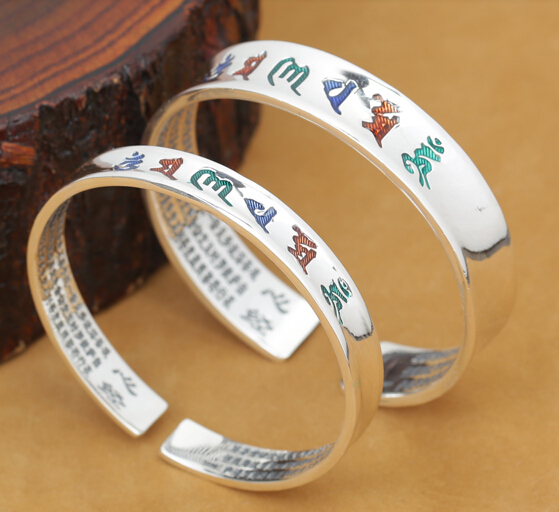 Handcrafted 999 Silver Bangle Tibetan OM Mani Padme Hum Bangle Real Pure Silver OM Mantra Bracelet Buddhist Jewelry Bangle