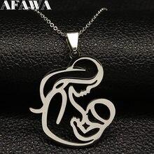 Collier de famille en acier inoxydable pour maman et bébé, pendentif de couleur argent, bijoux bisteria mujer, cadeau de fête des mères, N435S01