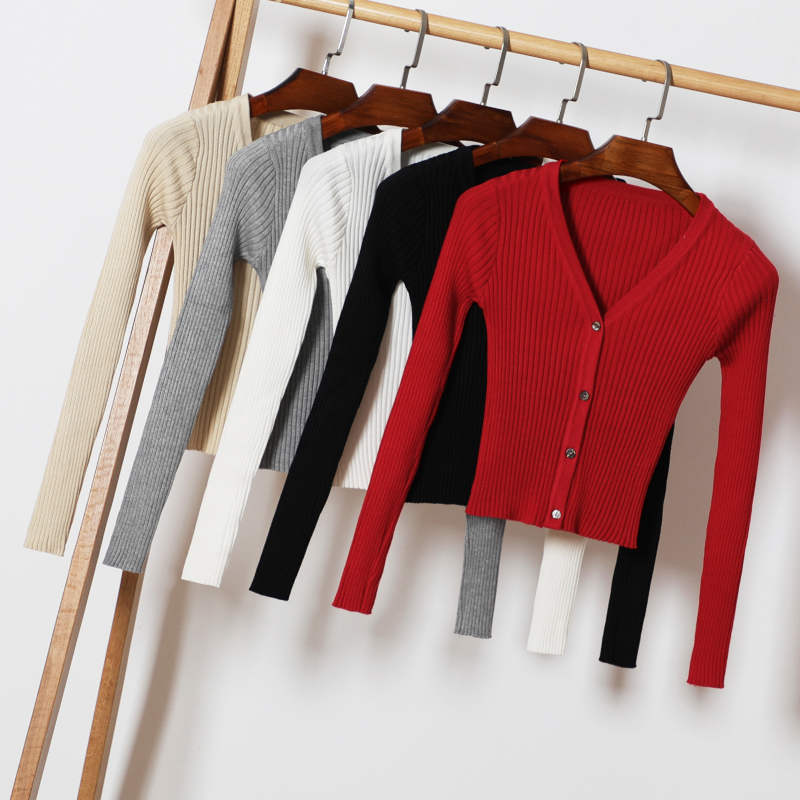 Spring Autumn Women V-Neck Knitted Full Sleeve Cropped Sweaters Cardigans Lady Knit Short Stretchy Outwear Coat Top For Female