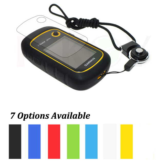 Protect Case + Black Detachable Ring Neck Strap +Screen Protector for Hiking Handheld GPS Garmin eTrex 10 20 30 10x 20x 30x
