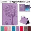 3D Tree Embossed Case For IPad Mini 4 Cover Kasams PU Leather Wallet Stand Case With